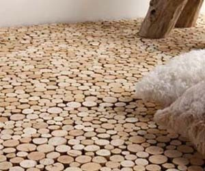 End grain driftwood flooring