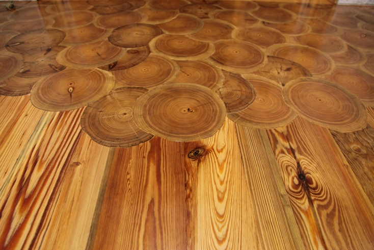 Heart pine log end flooring