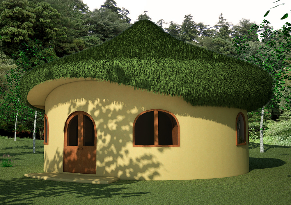Earthbag Hobbit House with loft and living roof
