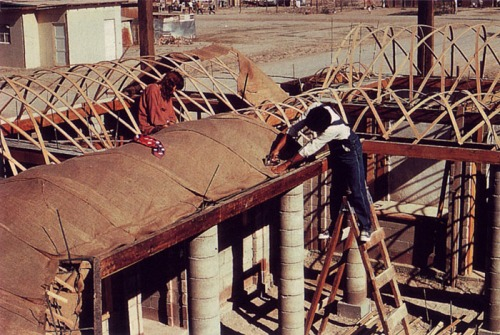Lightweight vaulted roof system on houses in Mexicali