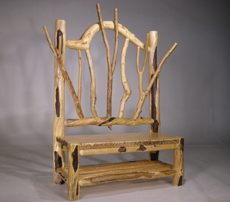 Natural log chair with forked and curved branches