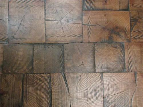 Reclaimed log end wood tile flooring