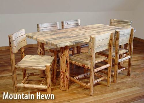 Rustic log dining table and chairs
