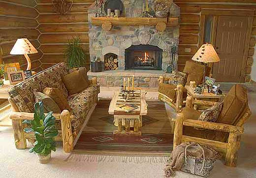 Rustic Log Sofa And Easy Chairs