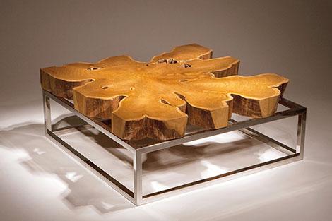 Single-slab teak coffee table top
