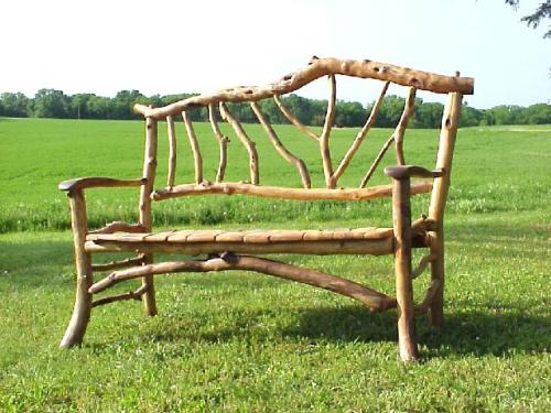 Natural twig bench