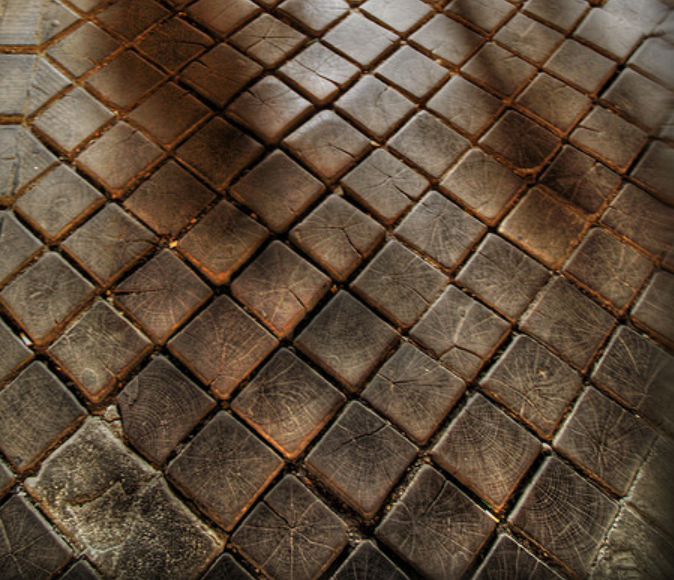Historic end grain cobblestone