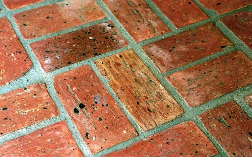 Recycled brick floor