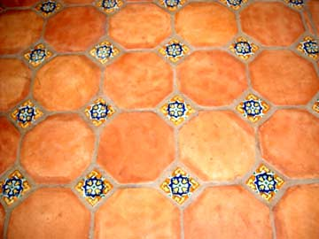 Saltillo tile with talaver insets