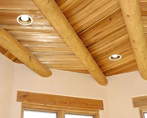 Split cedar latillas create a different, yet traditional look