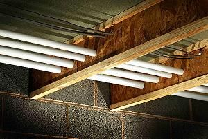 Truss joists make it easy to run plumbing and elctrical